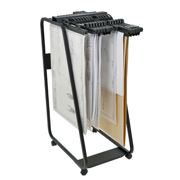 chariot m tallique sur roulette capacit 20 barrettes relieurs. Black Bedroom Furniture Sets. Home Design Ideas