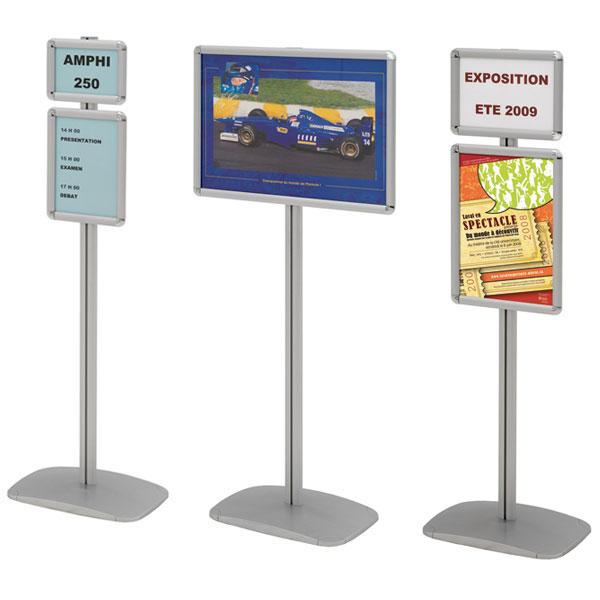 Porte affiches cadro clic sur pied h 133 cm for Porte affiche exterieur