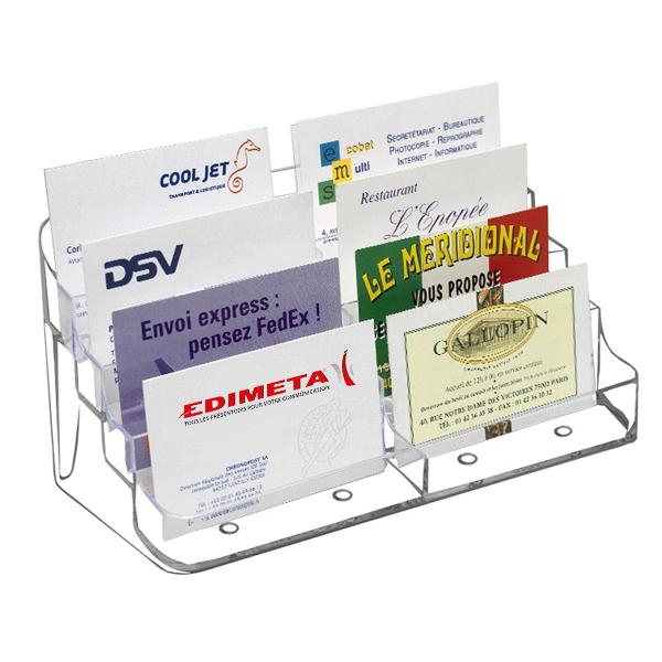 Presentoir Porte Cartes De Visite 8 Cases Paysage Transparent