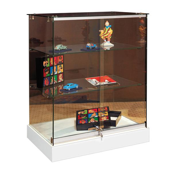 vitrines d 39 exposition mobiles comptoir en verre tremp s curit avec serrure couleurs blanc mat. Black Bedroom Furniture Sets. Home Design Ideas